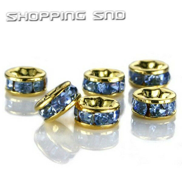 100pcs Premium Quality Czech Crystal Rhinestone Gold Rondelle Spacer Charm Beads