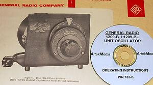 General Radio Manual Instruction 1310-B Oscillator GR Operating & Service