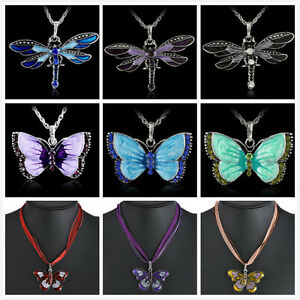Women-Jewelry-Enamel-Butterfly-Dragonfly-Crystal-Pendant-Necklace-Fashion-Chain