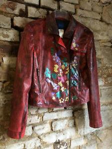 Details zu Supersüße rote KENZO Lederjacke D 38 F 40 · Blumen Boho Hippie Folkore Blogger