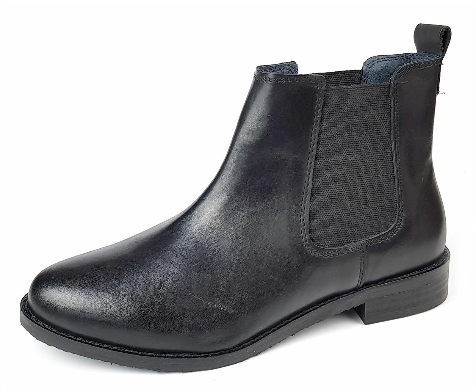 Frank James Aintree Leather Ladies Chelsea Ankle Boots Elgin Black