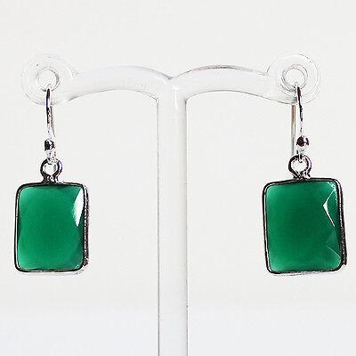 925 Sterling Silver Semi-Precious Natural Stone Green Onyx Drop Earrings