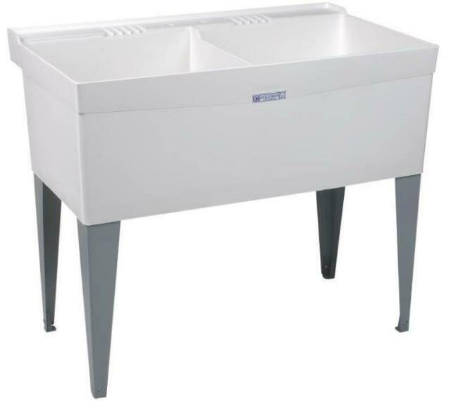 40 In. X 24 In. White Double Bowl Utility Tub