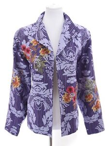 Coldwater-Creek-Womens-100-Silk-Embroidered-Blazer-Jacket-Purple-Sz-Large