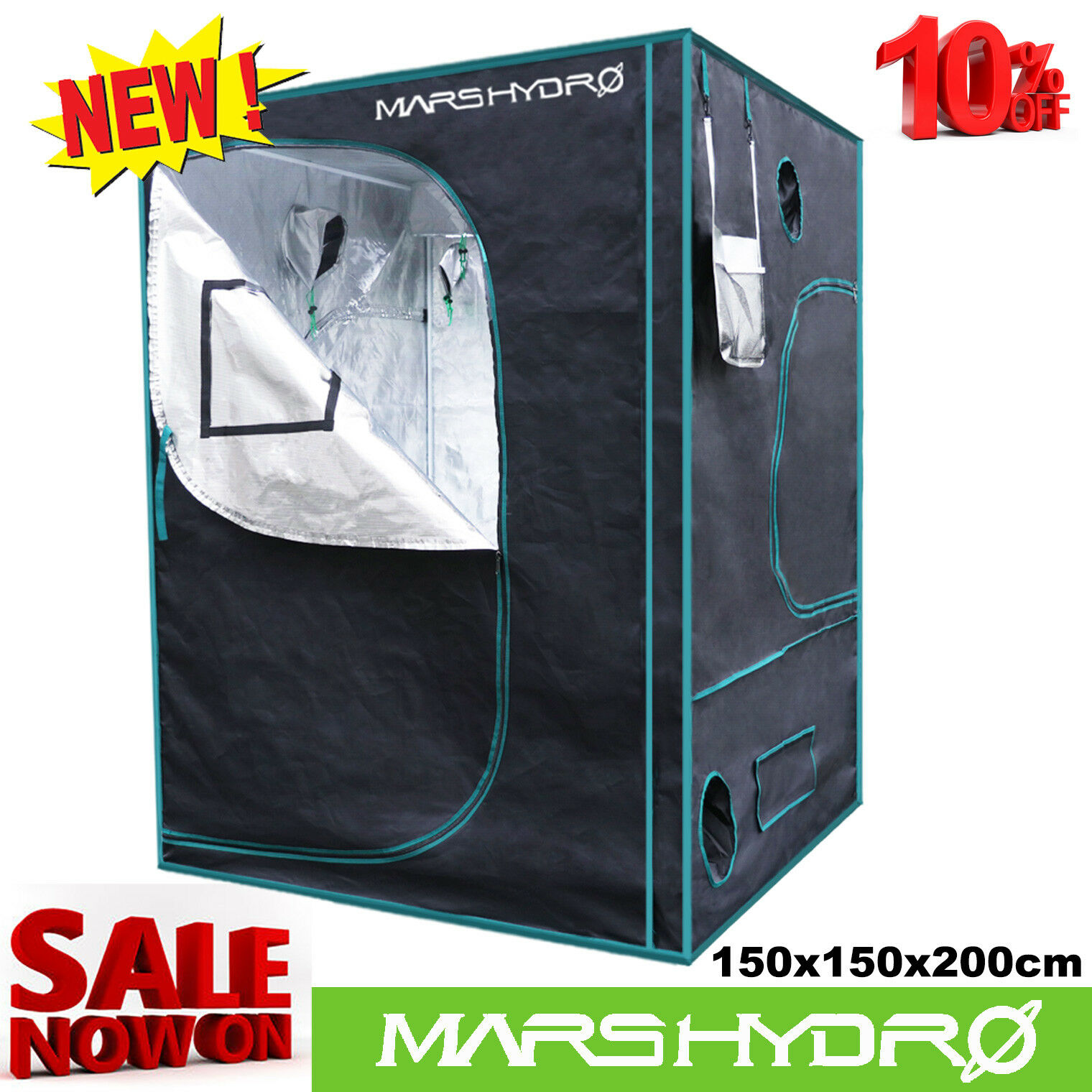 150x150x200 Premium Grow Tent Silber Mylar Indoor Bud Box Hydroponics Dark Room