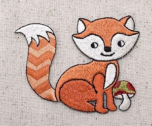 Woodland red fox mushroom iron on applique embroidered patch