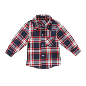 2c31900b3 Fashion Toddler Kids Baby Boys Girl Plaid Tops Shirt Long Sleeve T ...
