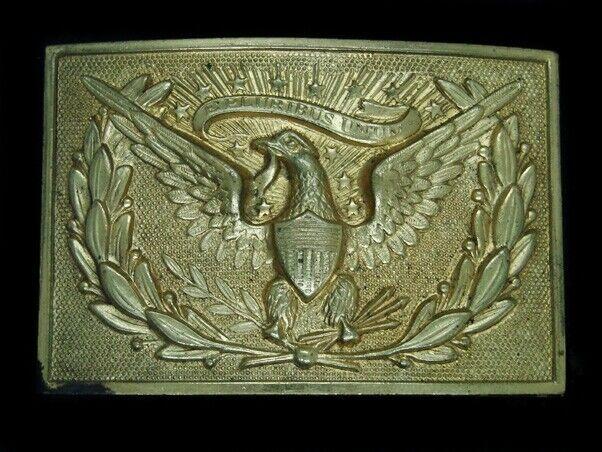 UD05124 VINTAGE 1970s **US INDIAN WARS** RETRO ART MILITARY OFFICER BELT BUCKLE