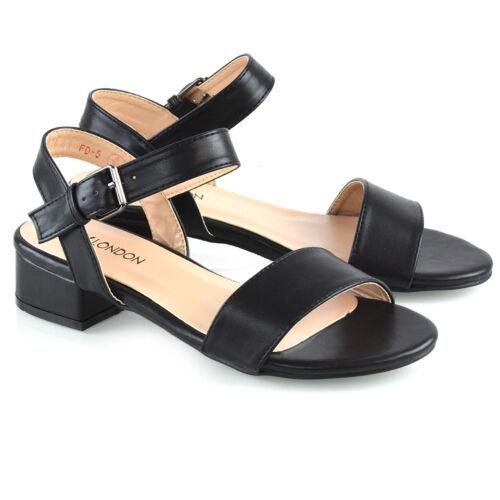 Women Low Heel Shoes Ladies Peeptoe Strappy Buckle Ankle Strap Sandals Size