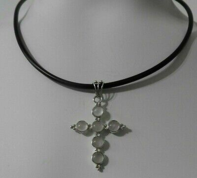 Solid 925 Sterling Silver Antiqued-Style Cross Pendant 31mm x 50mm