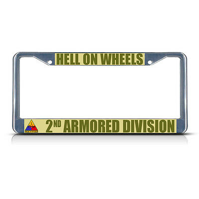 HELL ON WHEELS 2ND ARMORED DIVISION ARMY Metal License Plate Frame Tag Border