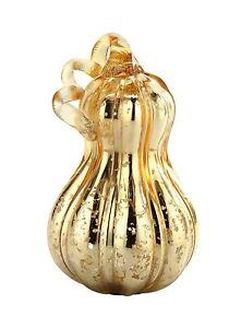 """New 8"""" Hand Blown Art Glass Mercury Gold Pumpkin Sculpture Figurine Harvest Fall"""