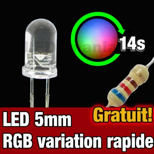 723//100# LED 5mm RGB à variation automatique rapide 100pcs RGB fastLED