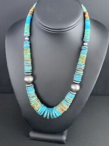 Men-Native-American-Navajo-Blue-Green-Turquoise-Sterling-Silver-Necklace-20-233