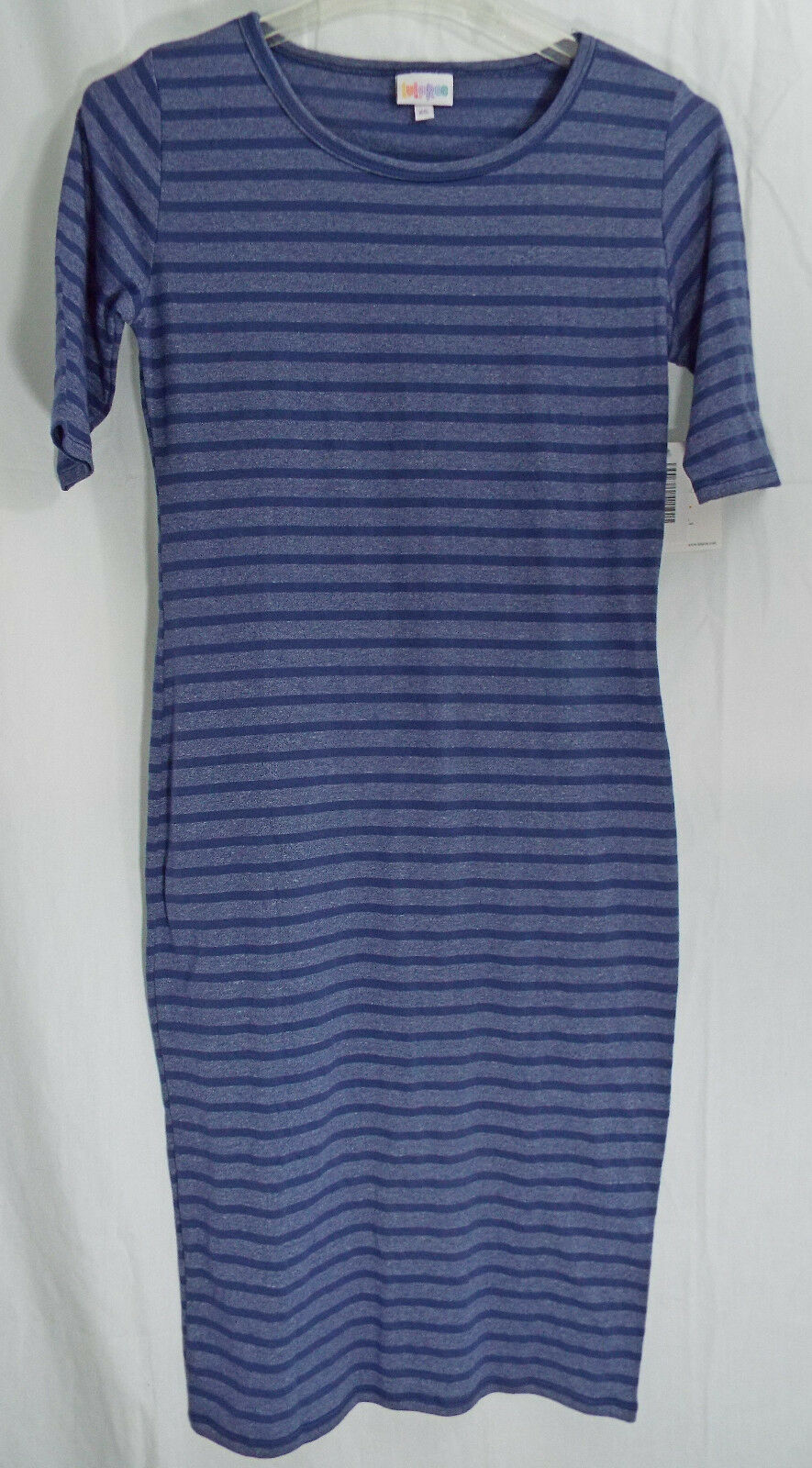 LuLaRoe Julia Dress in L in Heathered bluee with bluee Stripes  NWT