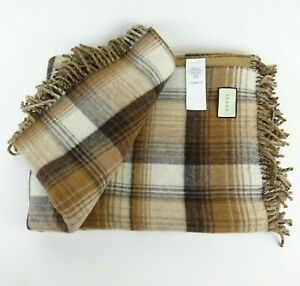 Gucci GG and Check Brown Reversible Plaid Wool Throw Blanket NEW NIB