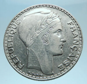 1933-FRANCE-Authentic-Large-Silver-20-Francs-Vintage-French-MOTTO-Coin-i77797