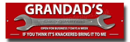 "GRANDADS SHED QUARTERS METAL SIGN SIZE 12/""X4/"" MAN CAVE SIGN,GARDEN SHED SIGN."