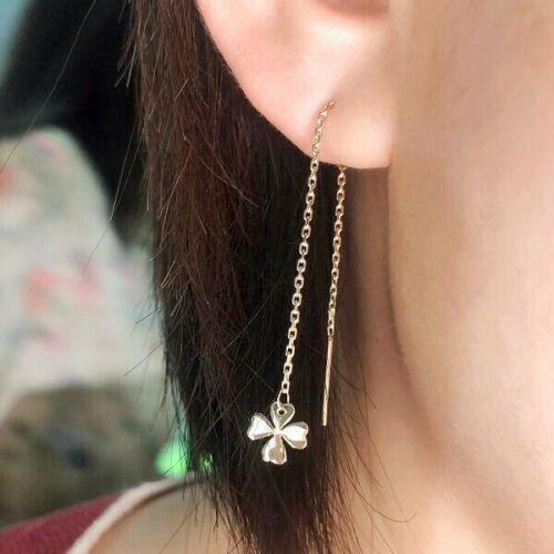 SALE 4 Leaf Clover Long Dangle Threader Women Earrings Solid 10K Yellow Gold