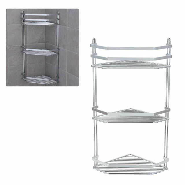 Chrome 3 Tier Corner Shower Caddy Tidy Basket Organizer Bathroom Storage Unit