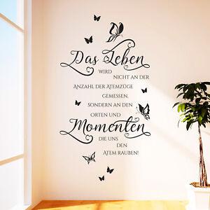 Details zu Wandtattoo Das Leben wird nicht... Spruch Zitat Familie Liebe  Wohnzimmer Deko