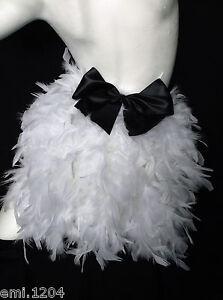 show girl blanc burlesque Plume bustle avec noeud