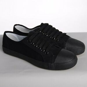 BLACK LACE UP CANVAS PLIMSOLES MENS WOMENS PLIMSOLLS PUMPS BRAND NEW FLATS
