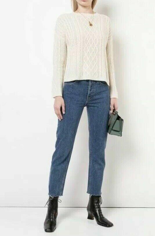 Reformation Fisherman Ivory Cashmere Sweater NWT Size Large