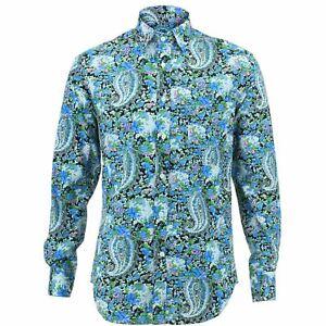Psychedelic Loud Fancy Fit Shirt Blue Originals Paisley Retro Mens Regular AZOgRPwqn