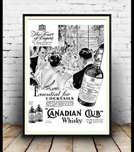 Image Is Loading Canadian Club Vintage Alcohol Advertising Poster Wall Art