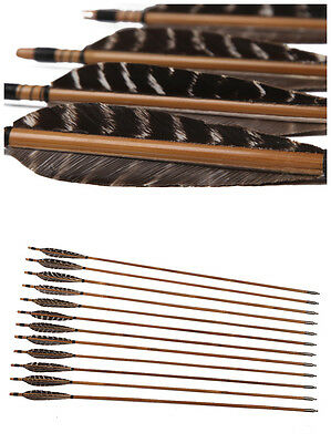 12PK Yu Archer Bamboo Fletched Arrows Field Point Self Nocks Eagle Flecthing