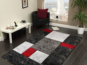 Qualite Design Moderne Rouge Noir Gris Lourd Tapis En 5 Tailles