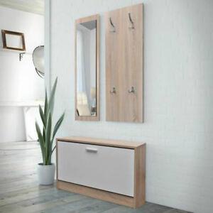 Hallway Furniture Set Shoe Storage Bench Coat Rack Mirror