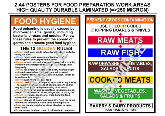 Food Hygiene 2 Kitchen A4 Signs 12 Golden Rules Prevent Cross Contamination