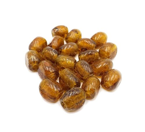 Amber Glass Beads 20 pc Coca Cola