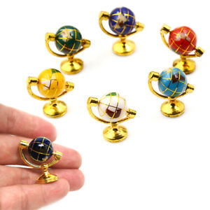 1-12-Miniature-Rolling-Globe-Metal-Stand-Dollhouse-Room-Furniture-Decor-MDTS