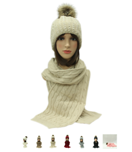 2f4b37ca719 Scarf Set Hat Faux Fur Women Winter Pom And Knitted Girls Ladies ...
