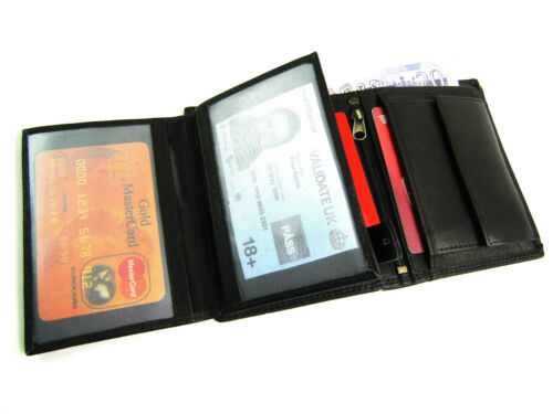 Mens Premium Quality Real Leather RFID Protected Wallet Credit Card Holder Boxed