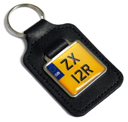 ZX 12R Reg Number Plate Leather Keyring Fob for Kawasaki ZX-12R Ninja Key