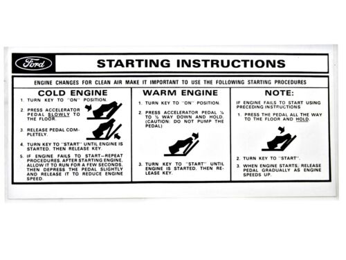 Osborn Reproductions Mustang Starting Instructions Sleeve 1966-1973