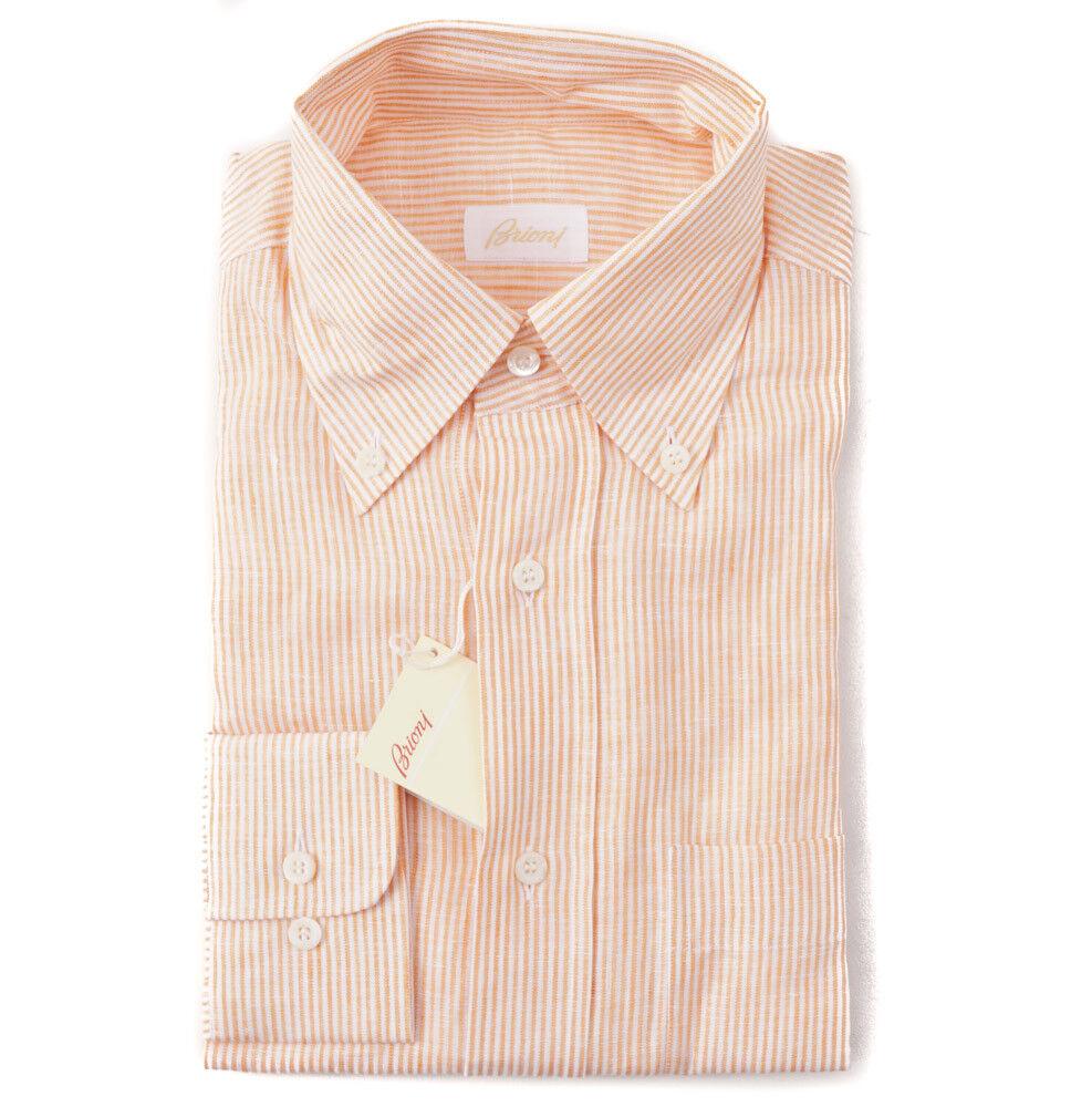 NWT  BRIONI orange and White Stripe Button-Front Linen Shirt M Classic Fit
