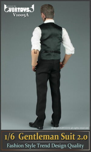 "VORTOYS 1//6 Black Man/'s Gentleman Suit Clothing Sets Fit 12/"" Male Figure Bodies"