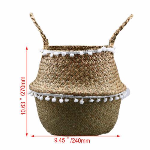UK Seagrass Belly Basket Handmade Woven Storage Bag Flower lace Plants Pots Box