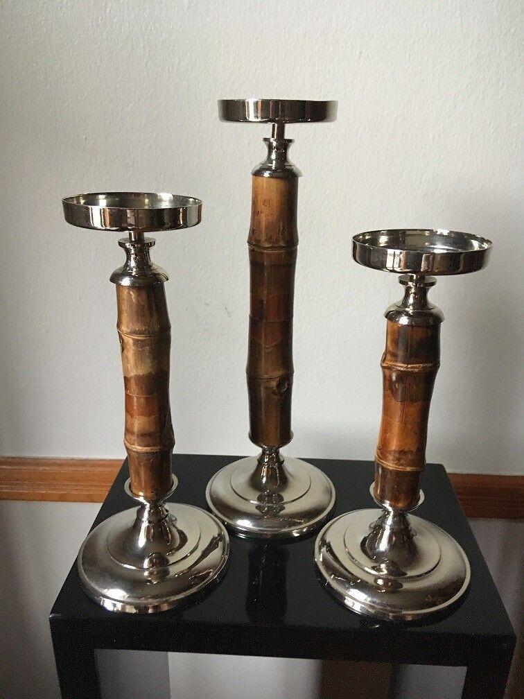 Zodax  Conjunto de 3  sostenedores de vela de plata con diseño de bambú natural [nuevo]
