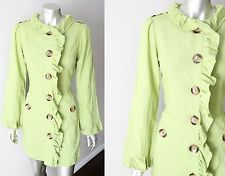 Linen Princess Anthropologie Ruffle Kiwi Green Flutter Jacket Coat Sz M