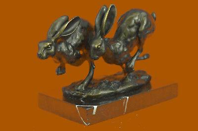 Art Deco Championship between Two Hare Bronze Sculpture Marble Statue Figurine