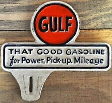 New Vintage Style Gulf License Plate Topper Fob Cast Iron Sign Gas Advertising