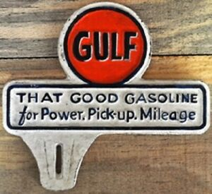 New-Vintage-Style-Gulf-License-Plate-Topper-Fob-Cast-Iron-Sign-Gas-Advertising