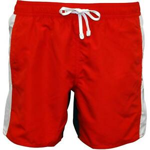 0824e1980c Details about Emporio Armani EA7 Colour Block Men's Swim Shorts, Red/Navy  with white