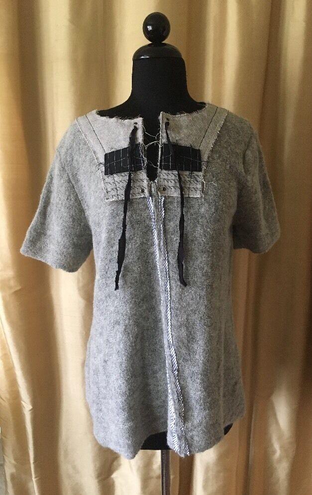 HIROMI TSUYOSHI Patchwork Embellished Sweater Grey Sz 2 = Medium NWOT